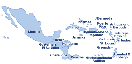 Mittelamerika & Karibik Landkarte
